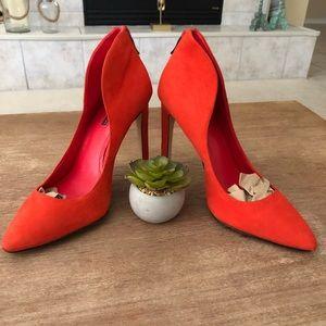 Size 9 Red/Orange BCBG Conrad Zip Heels